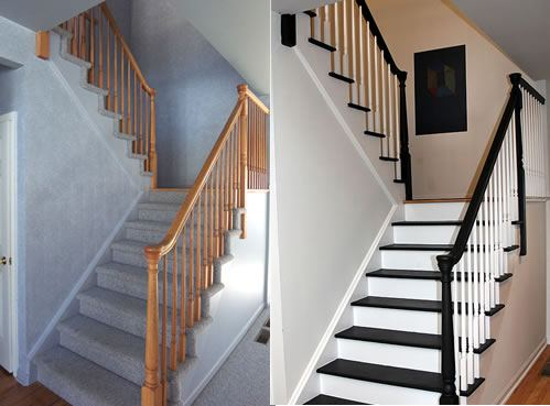 Staircase painting before and after