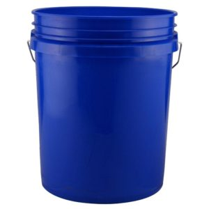 Blue five gallon bucket